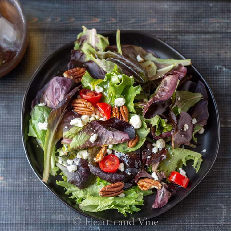 Sweet and spicy balsamic vinaigrette on spring greens