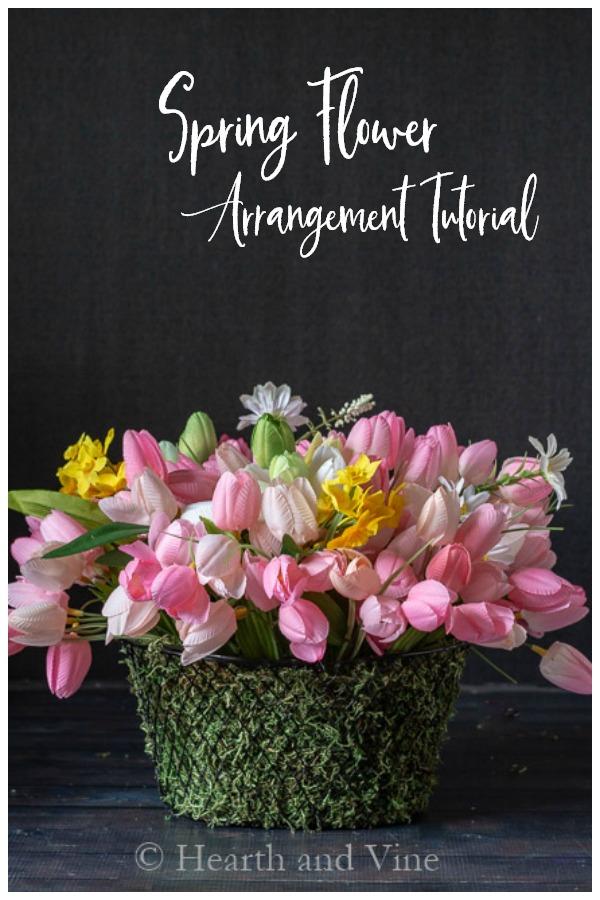 Spring flower baskets for Easter