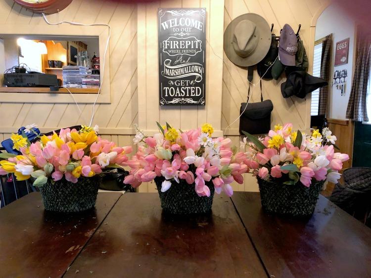 Spring flower basket trio