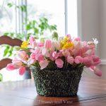 spring flower basket arrangement