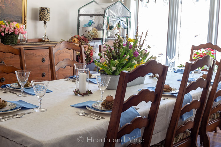 partial view of Easter tablescape