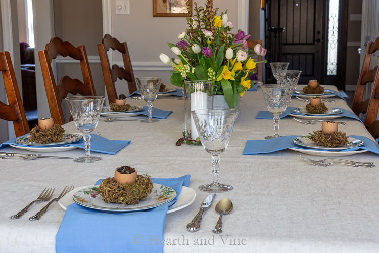 view of spring tablescape