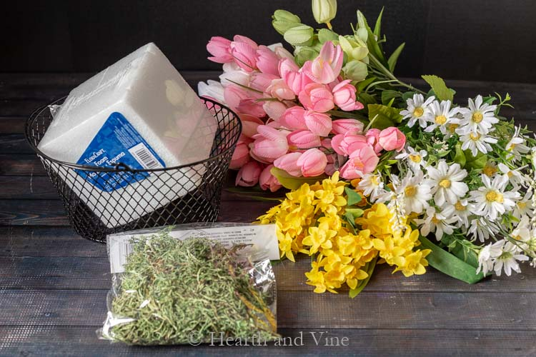 supplies spring flower basket arrangement