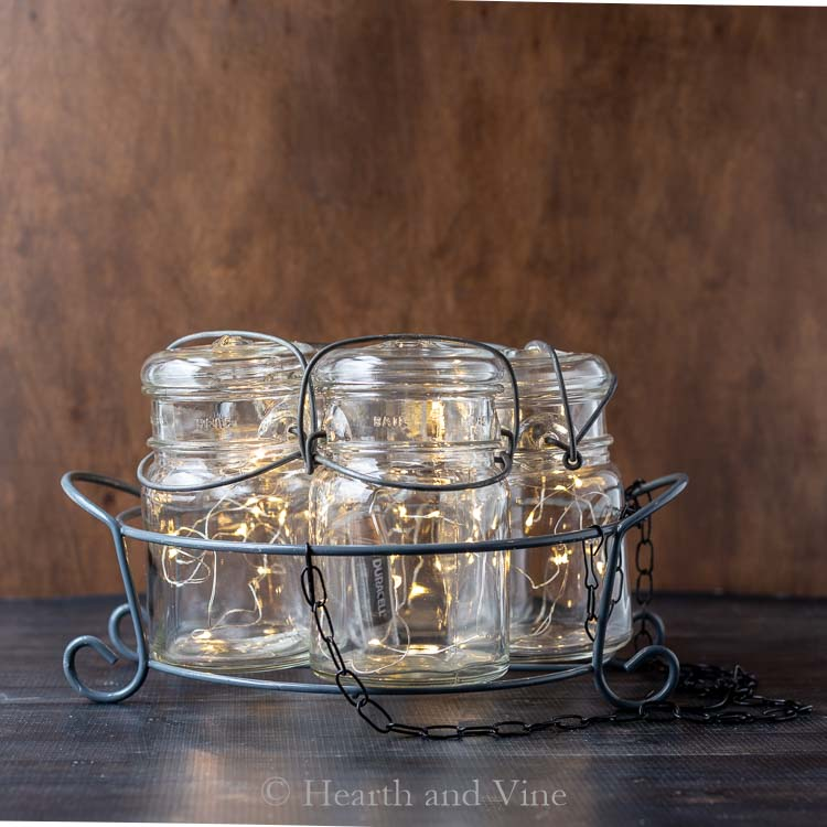 fairy lights in mason jars in basket