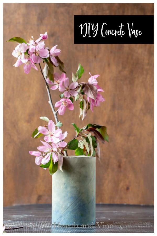 Concrete vase with blue pigment