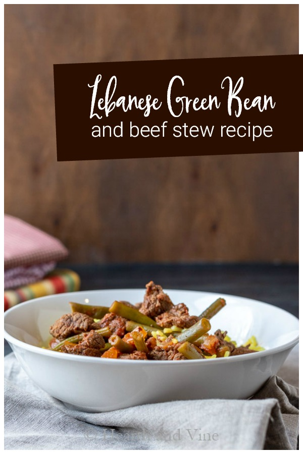 Middle Easter green bean and beef stew over rice