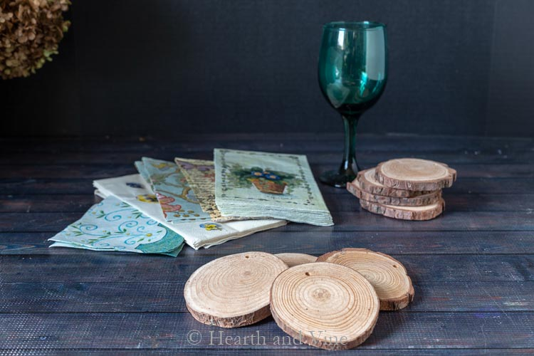 Decoupage coasters supplies