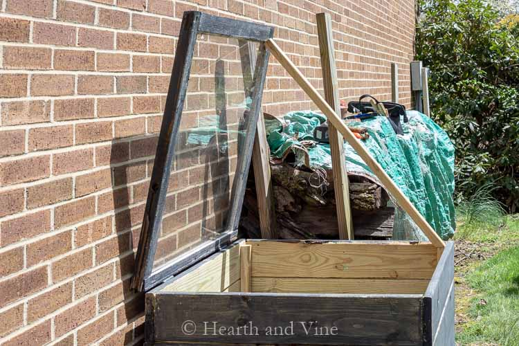 Open cold frame with deck rail
