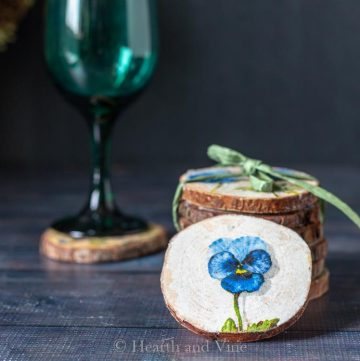 Decoupage coasters and wine glass