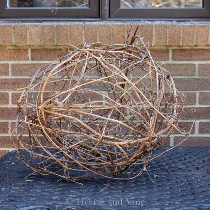 Grapevine sphere on table
