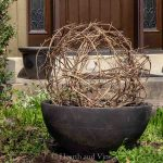 DIY grapevine sphere in planter