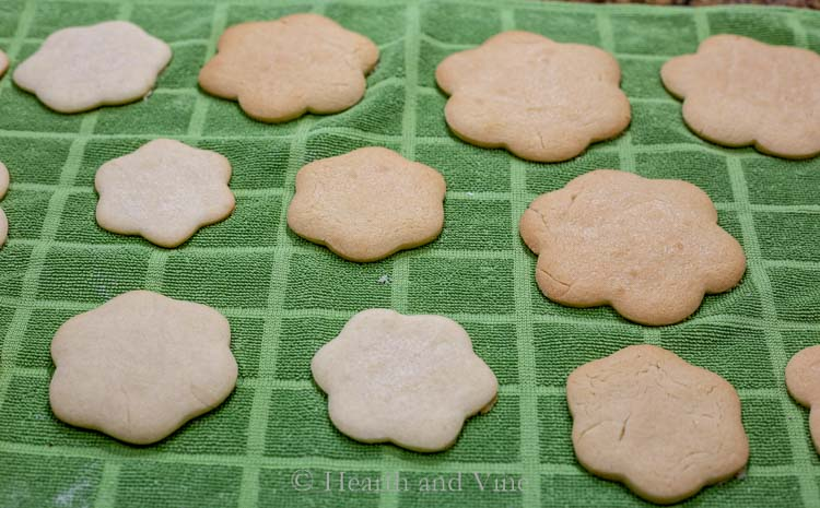 Light and dark cookies cooling on a towel