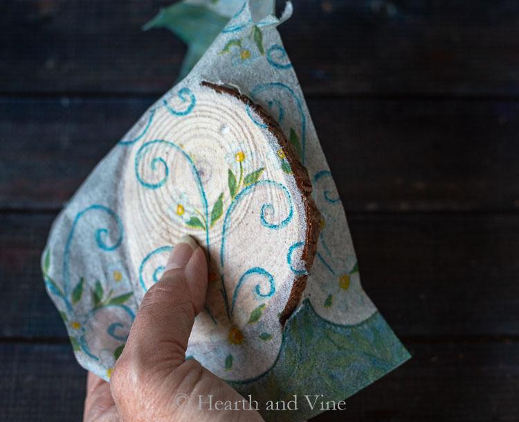 Gluing napkin to coaster