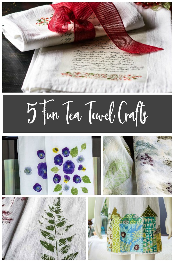 5 tea towel crafts collage