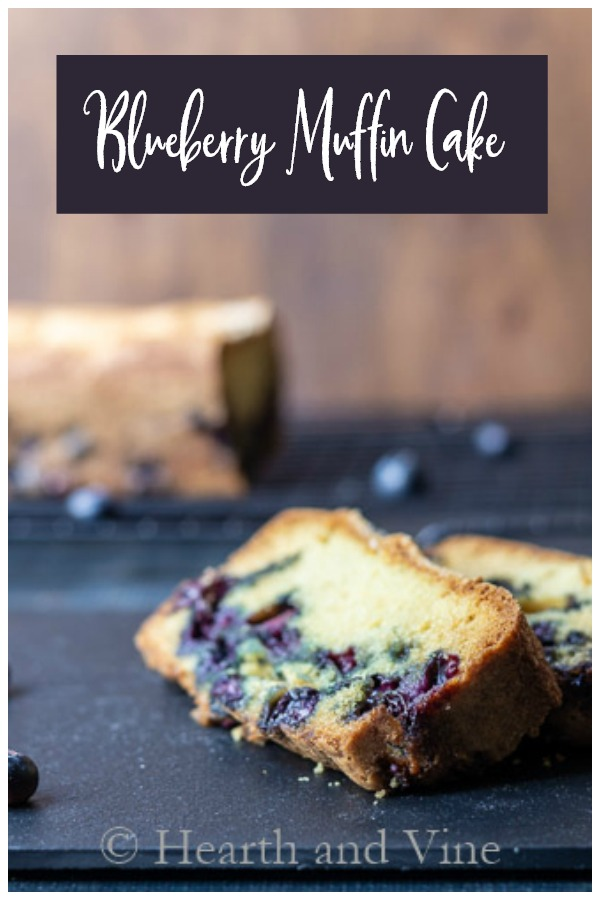 Slices of blueberry muffin cake