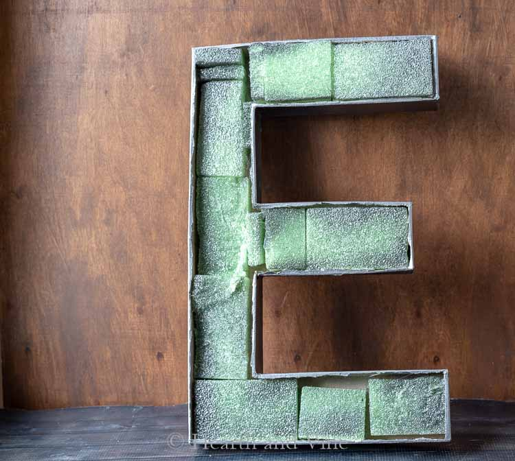 Painted letter with foam inside