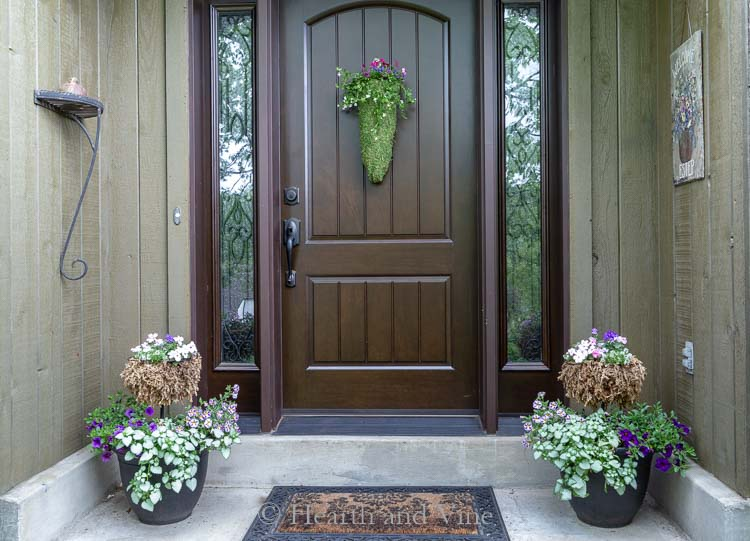 Front porch with DIY hanging planter on door