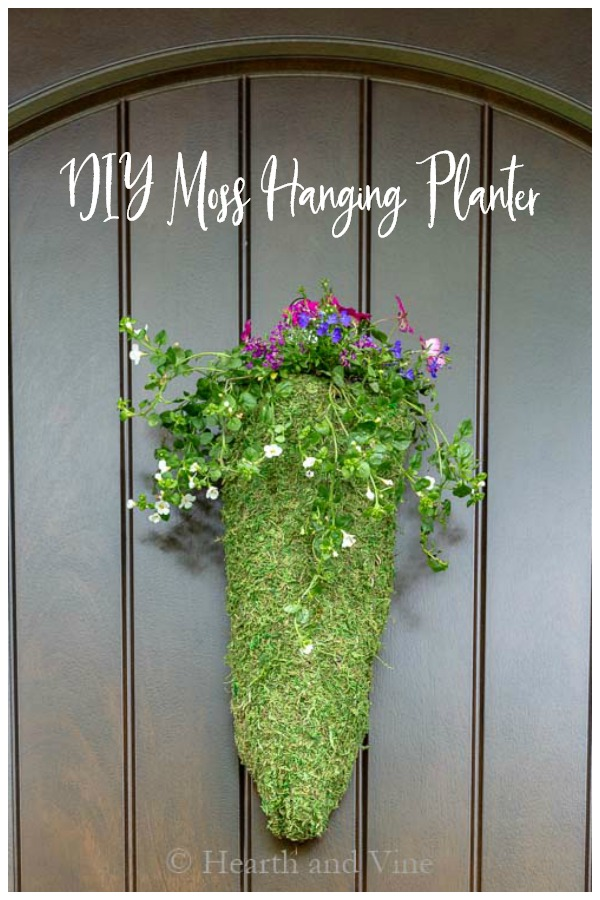 Hanging flower planter on door