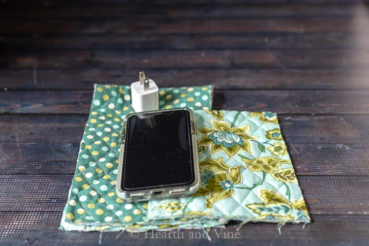 Iphone, power adapter and fabric