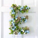 Floral letter E on door