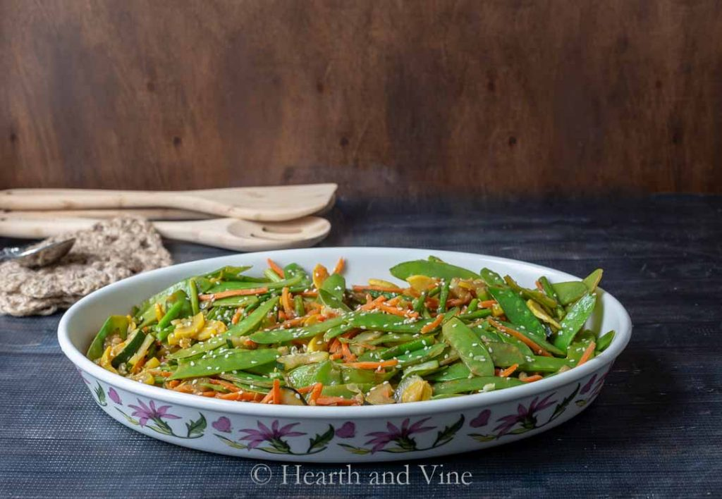 Stir fry veggies in serving dish