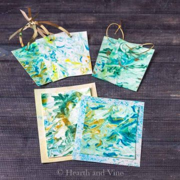 Marbled paper cards and tags