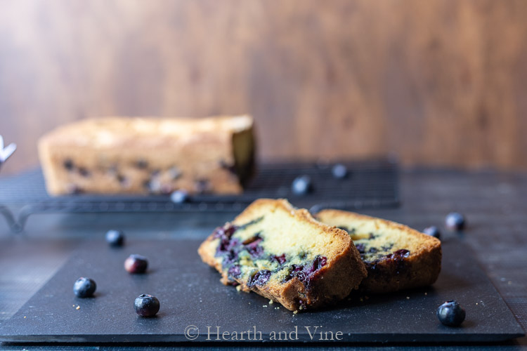 Slices of cake and blueberries