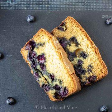 Slices of blueberry cake