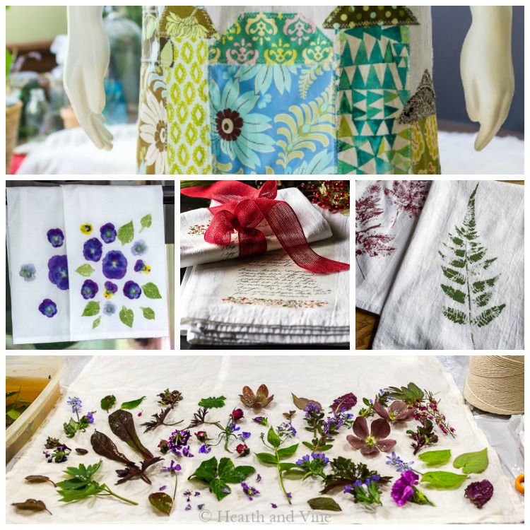 Tea towel crafts collage