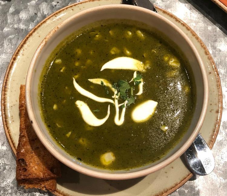 Poblano pepper corn soup