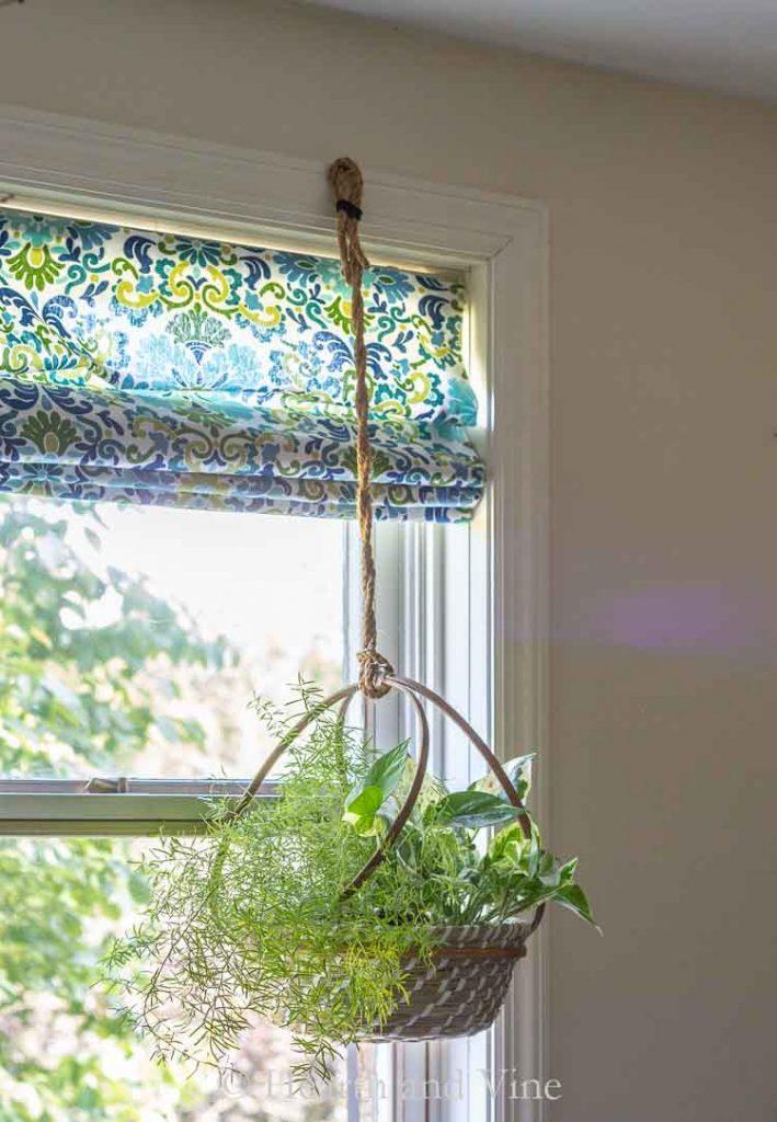 DIY hanging basket planter hanging in window