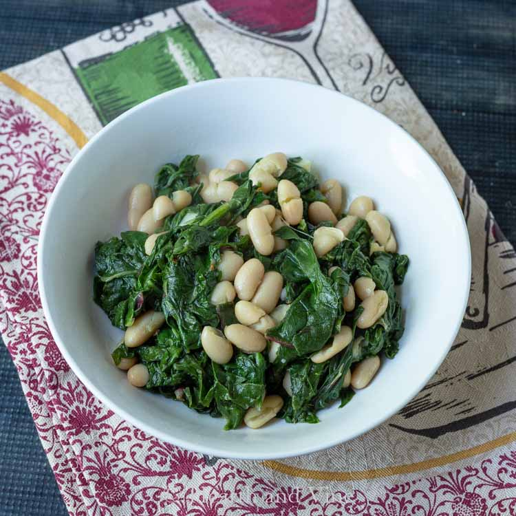 Bowl of beans and greens