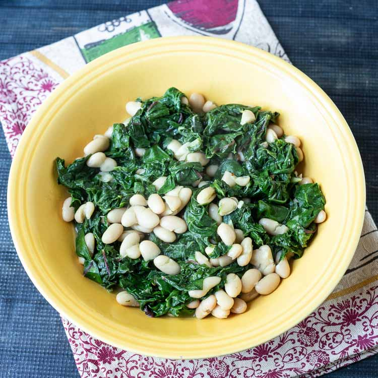 Bowl of greens and beans