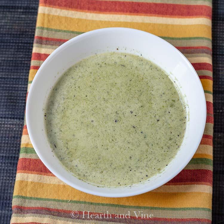 Bowl of creamy poblano soup