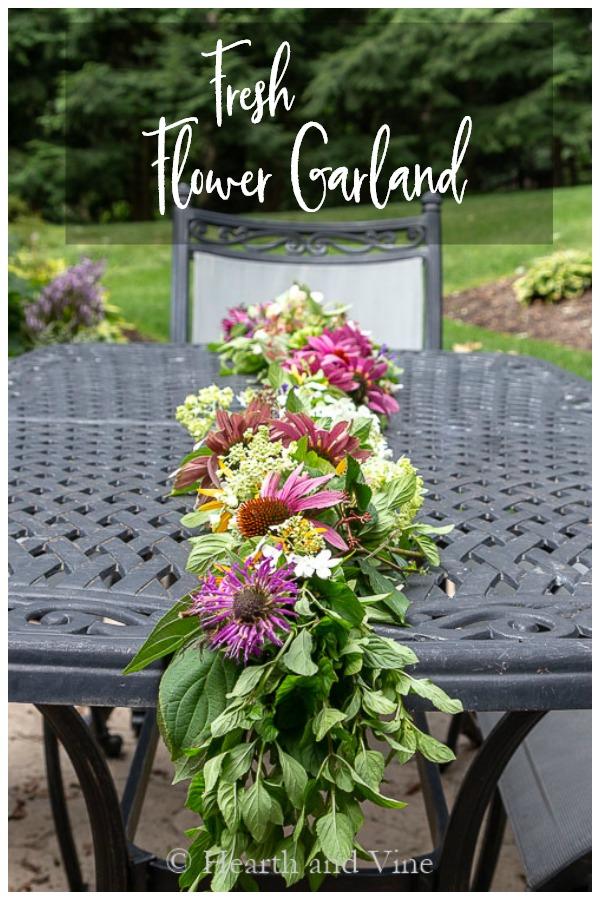 Fresh flower garland on table
