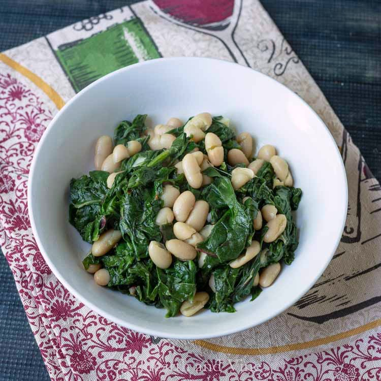 Beans and greens in a bowl