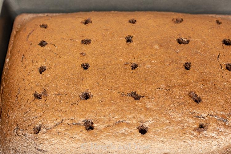 Holes in sheet cake