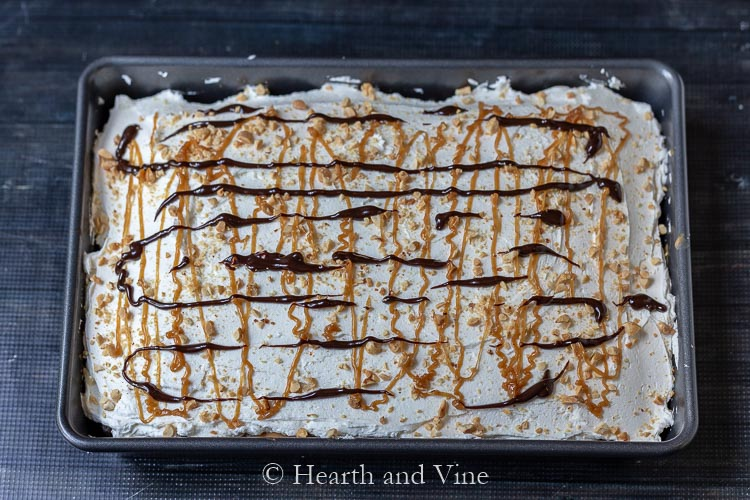 Top of chocolate peanut butter poke cake