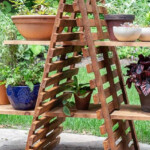 Cedar lattice outdoor plant stand for multiple plants