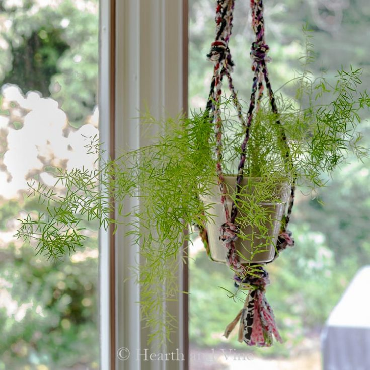 Fabric Twine Plant Hanger Made from Scrap Materials