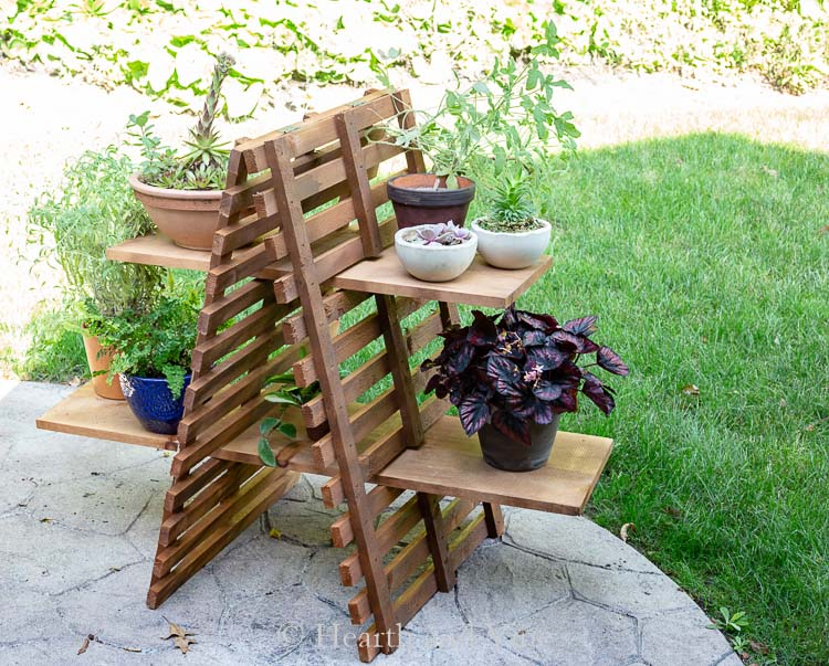 Outdoor wood plant stand