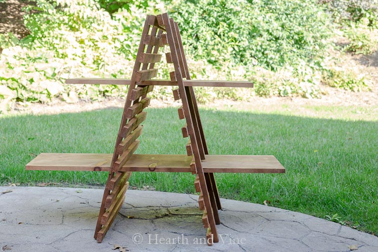 Outdoor plant stand with stain
