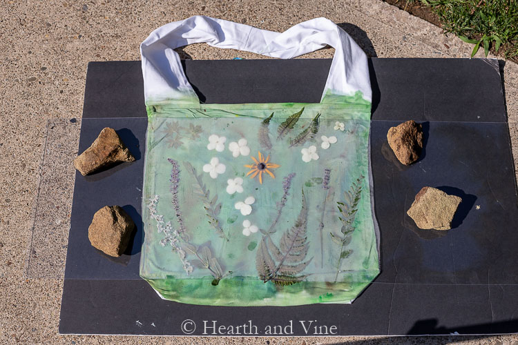 Tote with flowers and leaves outside under plexiglass