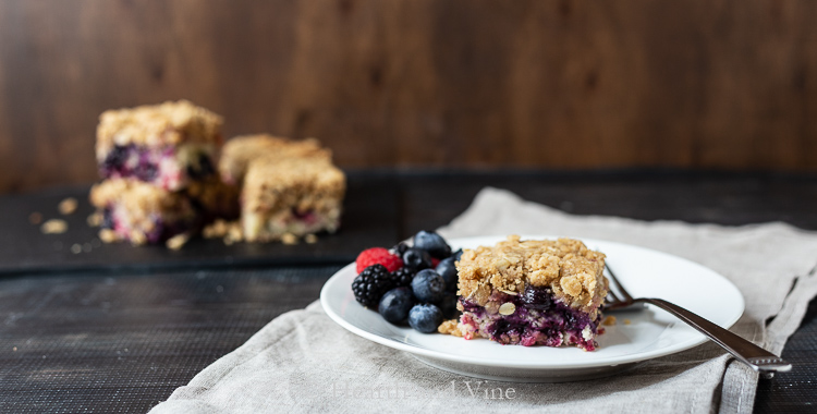 Serving of berry buckle cake