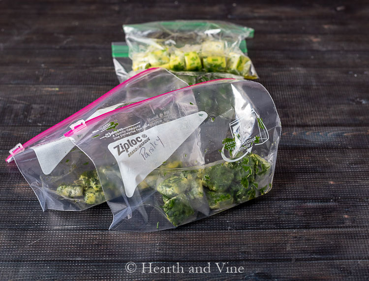 Herb ice cubes in baggies