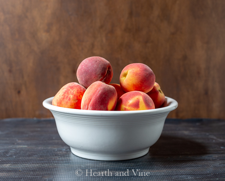 Bowl of farm fresh peaches