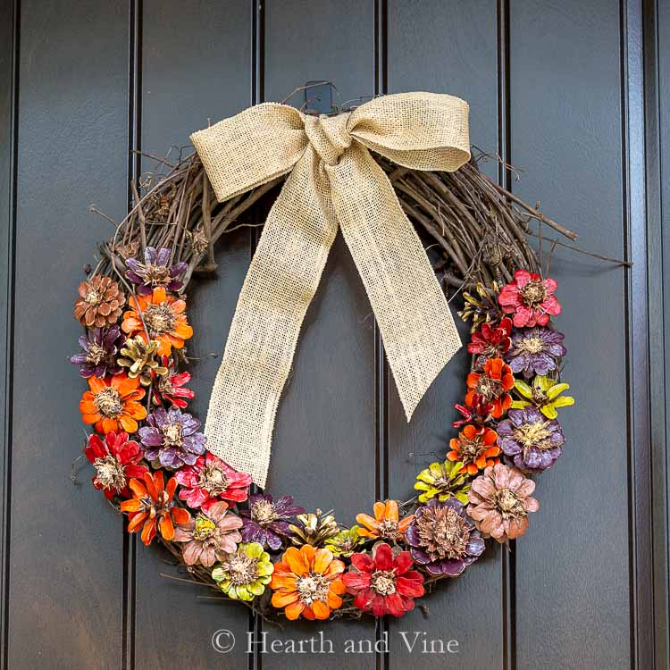 Make A Pinecone Flower Wreath For Fall Hearth And Vine