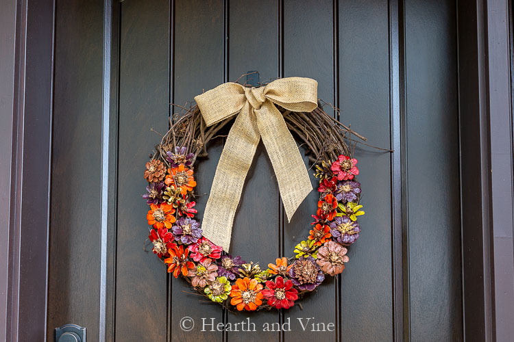 Pine cone wreath to look like flowers