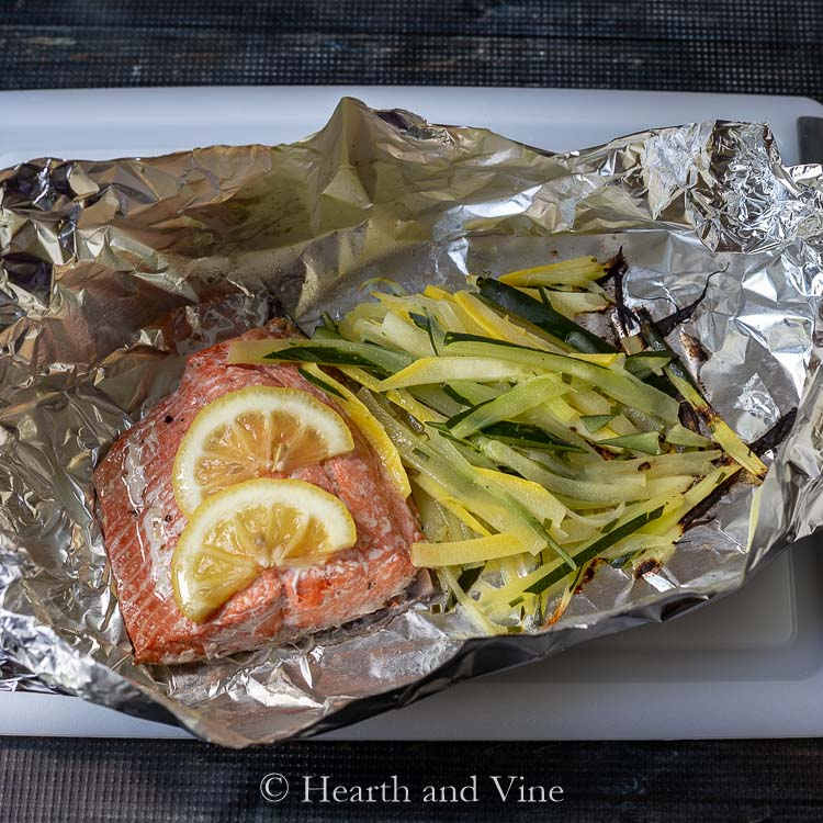 Salmon foil packets with julienne vegetables