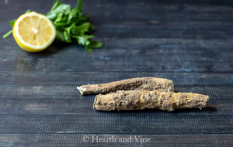 horseradish roots and lemon